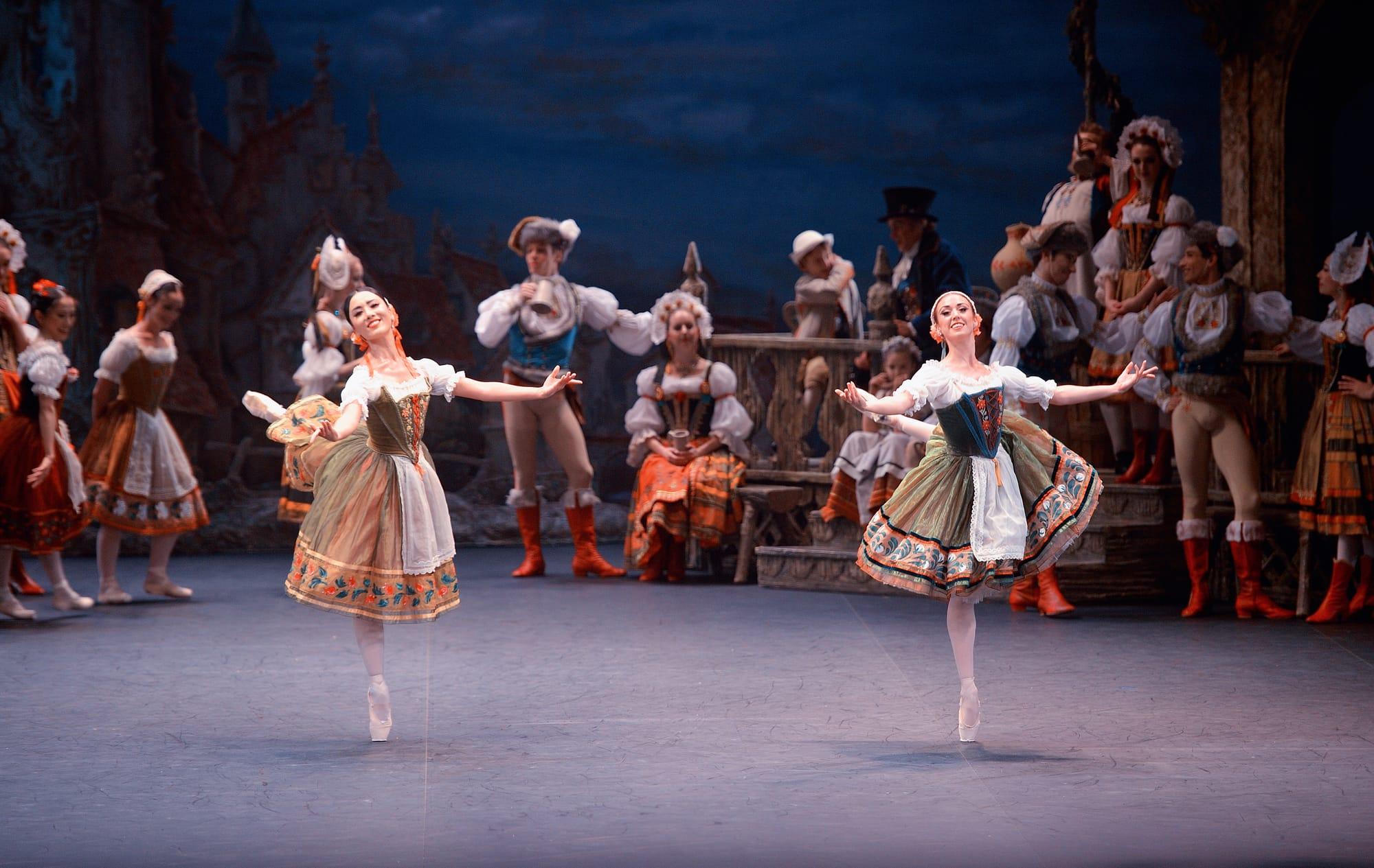 Jung ah Choi and Anjuli Hudson in English National Ballet's Coppelia © Laurent Liotardo