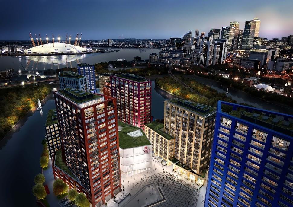London City Island – Aerial Shot Island Dusk