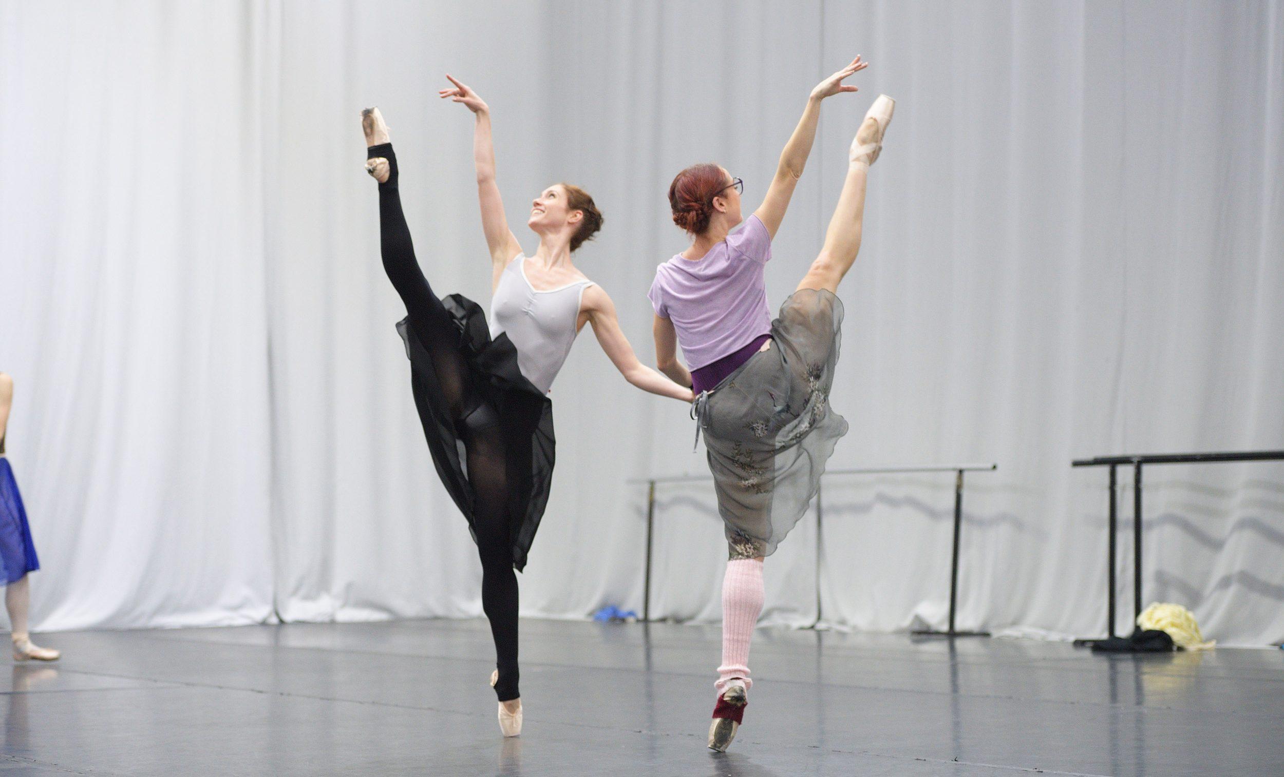 Alison McWhinney and Anjuli Hudson rehearsing Christopher Wheeldon's Cinderella © Laurent Liotardo