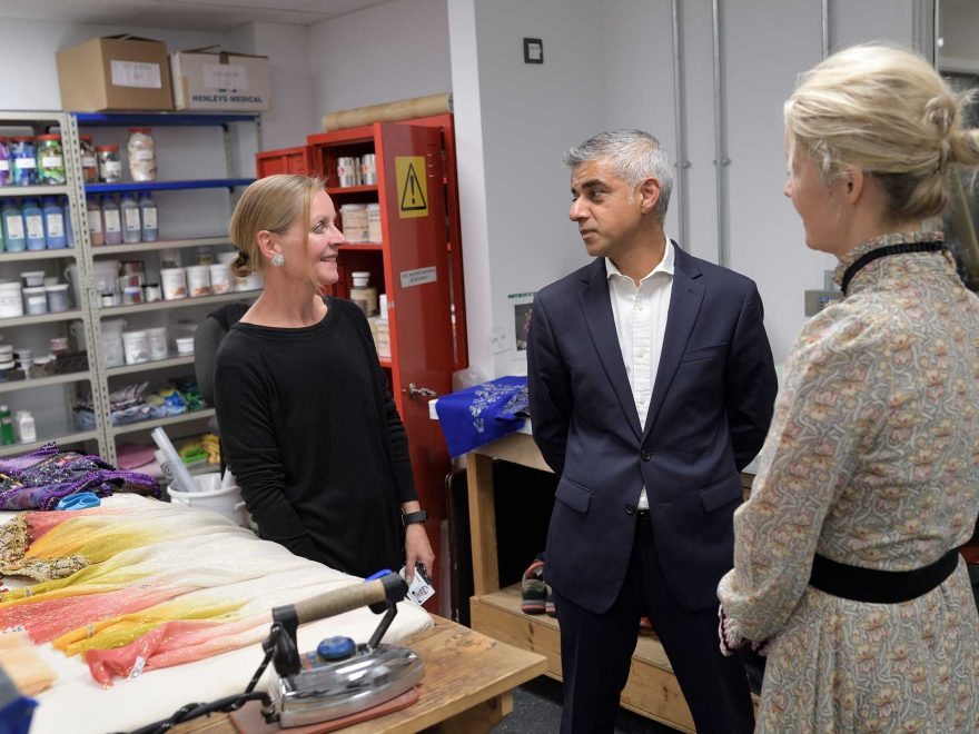 Mayor-of-London-Sadiq-Khan-meets-Dyer-Symone-Frost-with-Deputy-Mayor-Justine-Simons-at-English-National-Ballet's-new-building-(c)-Laurent-Liotardo
