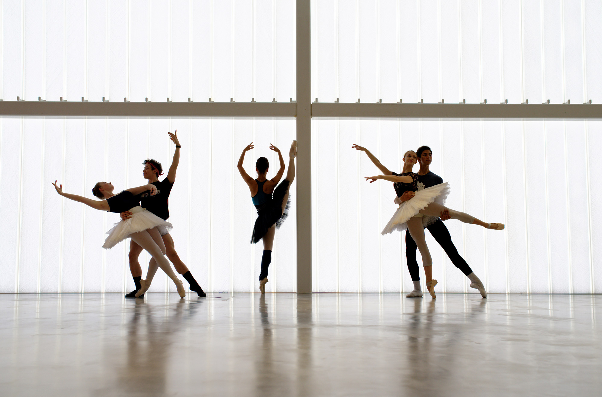 English National Ballet dancers at the company's headquarters on London City Island